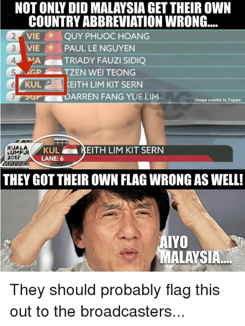 Gotted: NOT ONLY DID MALAYSIA GET THEIR OWN  COUNTRY ABBREVIATION WRONG...  VIE QUY PHUOC HOANG  2  3 VIE PAUL LE NGUYEN  4  TRIADY FAUZI SIDIQ  TZEN WEI TEONG  KULKEITH LIM KIT SERN  OPDARREN FANG YUE LIM  Image credits to Toggle  KUA LA  LUMPJR  201/  KUL  LANE: 6  KEITH LIM KIT SERN  THEY GOT THEIR OWN FLAG WRONG AS WELL!  AIYO  MALAYSIA They should probably flag this out to the broadcasters...