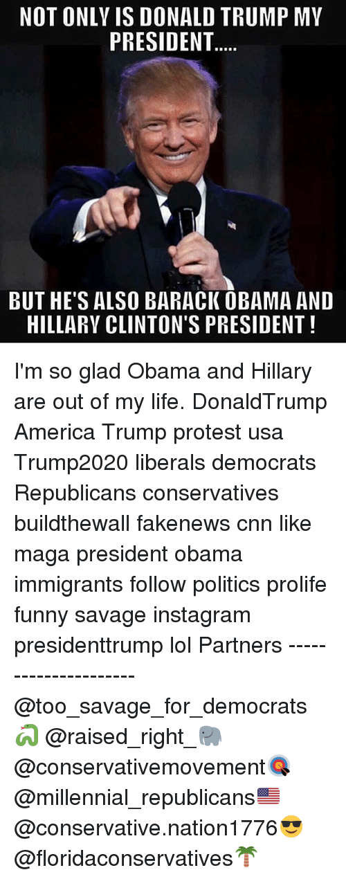 America, cnn.com, and Donald Trump: NOT ONLY IS DONALD TRUMP MY  PRESIDENT  BUT HE'S ALSO BARACK OBAMA AND  HILLARY CLINTON'S PRESIDENT I'm so glad Obama and Hillary are out of my life. DonaldTrump America Trump protest usa Trump2020 liberals democrats Republicans conservatives buildthewall fakenews cnn like maga president obama immigrants follow politics prolife funny savage instagram presidenttrump lol Partners --------------------- @too_savage_for_democrats🐍 @raised_right_🐘 @conservativemovement🎯 @millennial_republicans🇺🇸 @conservative.nation1776😎 @floridaconservatives🌴