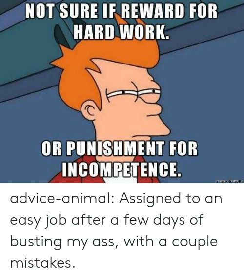 incompetence: NOT SURE IF REWARD FOR  HARD WORK  OR PUNISHMENT FOR  INCOMPETENCE  made on imqu advice-animal:  Assigned to an easy job after a few days of busting my ass, with a couple mistakes.