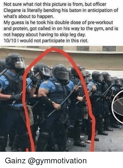 10 10 Would: Not sure what riot this picture is from, but officer  Clegane is literally bending his baton in anticipation of  what's about to happen.  My guess is he took his double dose of pre-workout  and protein, got called in on his way to the gym, and is  not happy about having to skip leg day.  10/10 would not participate in this riot. Gainz @gymmotivation