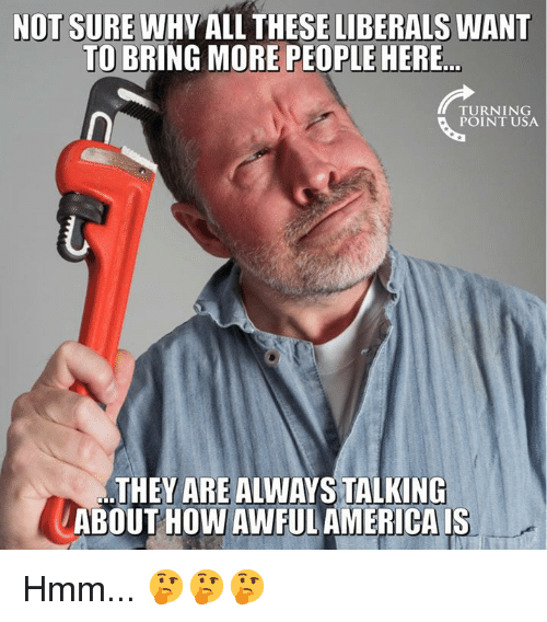 Memes, 🤖, and How: NOT SURE WHY ALL THESE LIBERALS WANT  TO BRING MORE PEOPLE HERE  TURNING  POINT USA  THEY ARE ALWAYS TALKING  ABOUT HOW AWFULAMERICA IS Hmm... 🤔🤔🤔