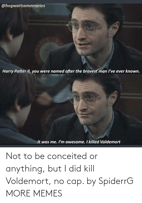 kill: Not to be conceited or anything, but I did kill Voldemort, no cap. by SpiderrG MORE MEMES