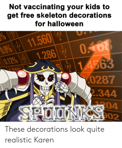 skeleton: Not vaccinating your kids to  get free skeleton decorations  for halloween  11.560  1.286  .9%  0.12%  0168  1.4563  0287  2.344  00  304  902  SPOONKSCO2 These decorations look quite realistic Karen