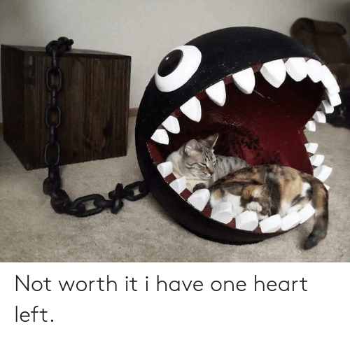Heart, One, and Worth It: Not worth it i have one heart left.