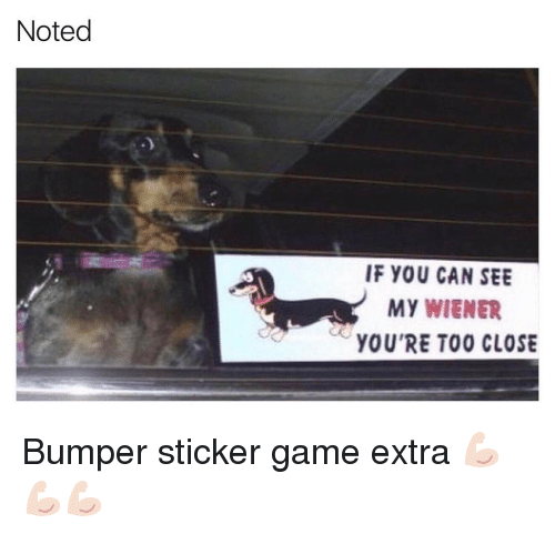 wieners: Noted  IF YOU CAN SEE  My WIENER  YOU'RE TOO CLOSE Bumper sticker game extra 💪🏻💪🏻💪🏻