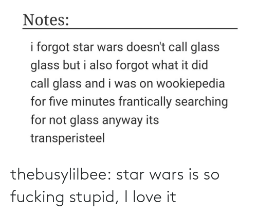 glass: Notes:  i forgot star wars doesn't call glass  glass but i also forgot what it did  call glass and i was on wookiepedia  for five minutes frantically searching  for not glass anyway its  transperisteel thebusylilbee:  star wars is so fucking stupid, I love it