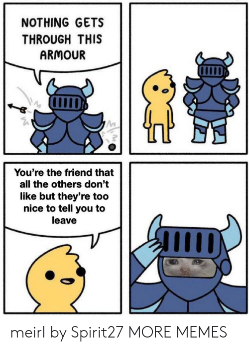the others: NOTHING GETS  THROUGH THIS  ARMOUR  You're the friend that  all the others don't  like but they're too  nice to tell you to  leave meirl by Spirit27 MORE MEMES