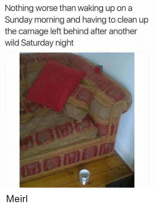 Carnage: Nothing worse than waking up on a  Sunday morning and having to clean up  the carnage left behind after another  wild Saturday night Meirl