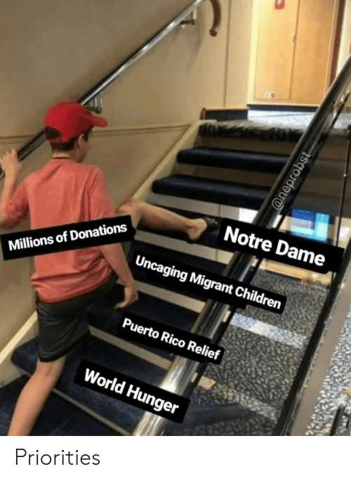 Puerto Rico: Notre Dame  Uncaging Migrant Children  Millions of Donations  Puerto Rico Relief  World Hunger  @neprobst Priorities