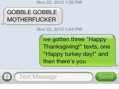 "happy turkey day: Nov 22, 2012 1:26 PM  GOBBLE GOBBLE  MOTHERFUCKER  Nov 22, 2012 1:54 PM  ive gotten three ""Happy  Thanksgiving!"" texts, one  ""Happy turkey day!"" and  then there's you  O Text Message  Send"