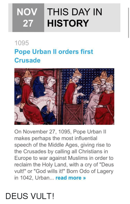 the plea of pope urban ii to join him in a holy war Involving god as part of a war campaign does not make a war a holy war - for a war to be a holy war the first crusade was started by pope urban ii in.