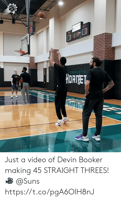 Threes: NOVANT  GUEST  AME  CHARLOTTE  HORTGET Just a video of Devin Booker making 45 STRAIGHT THREES!   🎥 @Suns https://t.co/pgA6OIH8nJ