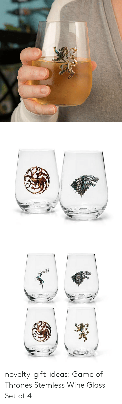 Game of Thrones, Tumblr, and Wine: novelty-gift-ideas:  Game of Thrones Stemless Wine Glass Set of 4