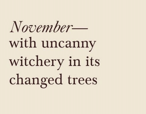 Trees, November, and Witchery: November_  with uncanny  witchery in its  changed trees