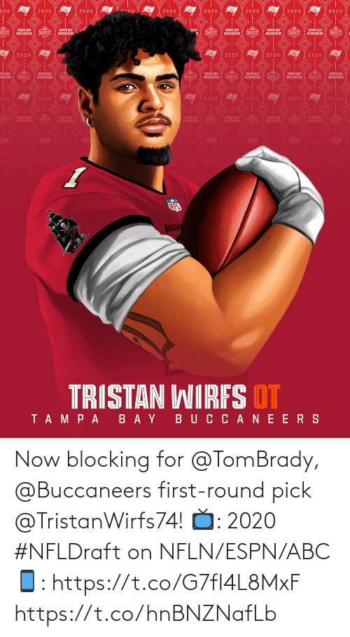 tombrady: Now blocking for @TomBrady, @Buccaneers first-round pick @TristanWirfs74!  📺: 2020 #NFLDraft on NFLN/ESPN/ABC 📱: https://t.co/G7fI4L8MxF https://t.co/hnBNZNafLb