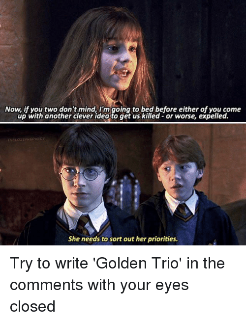 expelled: Now, if you two don't mind, I'm going to bed before either of you come  up with another clever idea to get us killed- or worse, expelled.  HELOSTPROPHEC  She needs to sort out her priorities. Try to write 'Golden Trio' in the comments with your eyes closed △⃒⃘