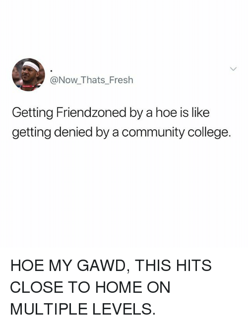 Gawd: @Now_Thats_Fresh  Getting Friendzoned by a hoe is like  getting denied by a community college. HOE MY GAWD, THIS HITS CLOSE TO HOME ON MULTIPLE LEVELS.