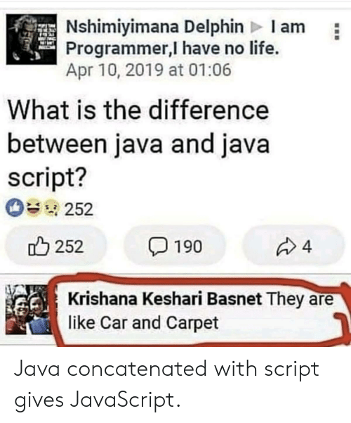 apr: Nshimiyimana Delphin Iam  Programmer,I have no life.  Apr 10, 2019 at 01:06  What is the difference  between java and java  script?  252  252  4  190  Krishana Keshari Basnet They  like Car and Carpet Java concatenated with script gives JavaScript.