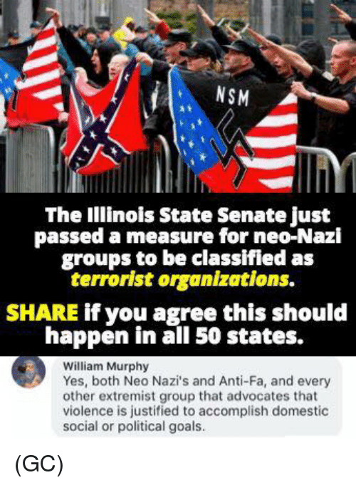 Nazy: NSM  The Illinois State Senate just  passed a measure for neo-Nazi  groups to be classifled as  terrorist organizations.  SHARE if you agree this should  happen in all 50 states.  William Murphy  Yes, both Neo Nazi's and Anti-Fa, and every  other extremist group that advocates that  violence is justified to accomplish domestic  social or political goals. (GC)