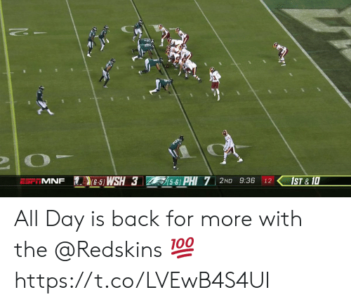 Memes, Washington Redskins, and Back: NSWSH3 sPHI 7 2ND 9:36 12  MNF  15-6)  |< 1ST & 10 All Day is back for more with the @Redskins 💯 https://t.co/LVEwB4S4UI