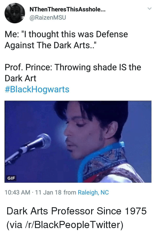 "Blackpeopletwitter, Gif, and Prince: NThenTheresThisAsshole...  @RaizenMSU  Me: ""l thought this was Defense  Against The Dark Arts..""  Prof. Prince: Throwing shade IS the  Dark Art  #BlackHogwarts  GIF  10:43 AM 11 Jan 18 from Raleigh, NOC <p>Dark Arts Professor Since 1975 (via /r/BlackPeopleTwitter)</p>"