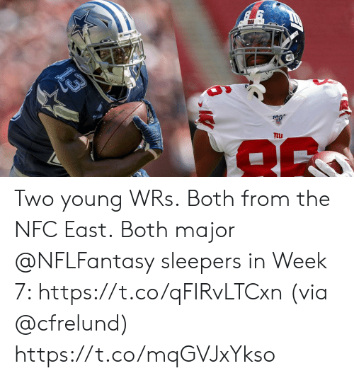 Memes, 🤖, and Nfc: nu Two young WRs.  Both from the NFC East. Both major @NFLFantasy sleepers in Week 7: https://t.co/qFIRvLTCxn (via @cfrelund) https://t.co/mqGVJxYkso