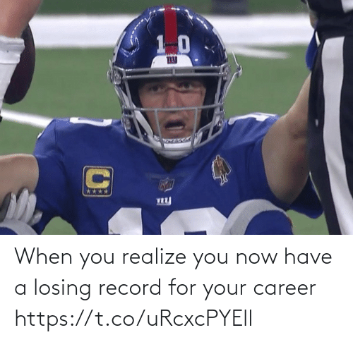 Football, Nfl, and Sports: ny When you realize you now have a losing record for your career https://t.co/uRcxcPYEll