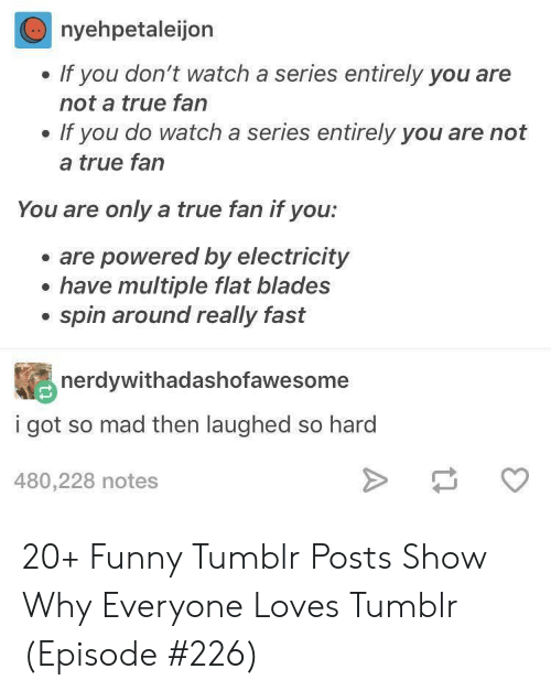 Funny, True, and Tumblr: nyehpetaleijon  If you don't watch a series entirely you are  not a true fan  If you do watch a series entirely you are not  a true fan  You are only a true fan if you:  are powered by electricity  have multiple flat blades  spin around really fast  nerdywithadashofawesome  i got so mad then laughed so hard  480,228 notes 20+ Funny Tumblr Posts Show Why Everyone Loves Tumblr (Episode #226)
