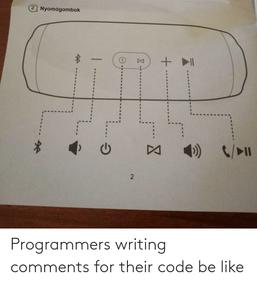 writing: Nyomógombok  DA  C/>l  DA Programmers writing comments for their code be like