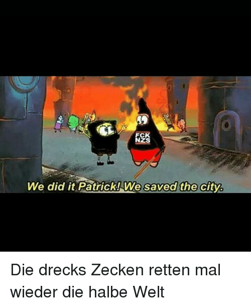 Memes, 🤖, and City: NZS  We did it Patrick!We saved the city Die drecks Zecken retten mal wieder die halbe Welt