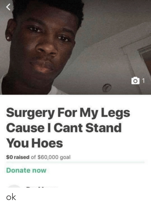 Hoes: O 1  Surgery For My Legs  Cause I Cant Stand  You Hoes  $0 raised of $60,000 goal  Donate now ok