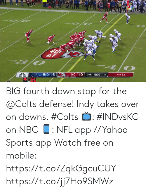 Indianapolis Colts, Memes, and Nfl: O 2  O PE  4t  O  КС 10  IND 16  4th 5:07  4th &1  :11  2-2  4-0 BIG fourth down stop for the @Colts defense!  Indy takes over on downs. #Colts  📺: #INDvsKC on NBC 📱: NFL app // Yahoo Sports app Watch free on mobile: https://t.co/ZqkGgcuCUY https://t.co/jj7Ho9SMWz