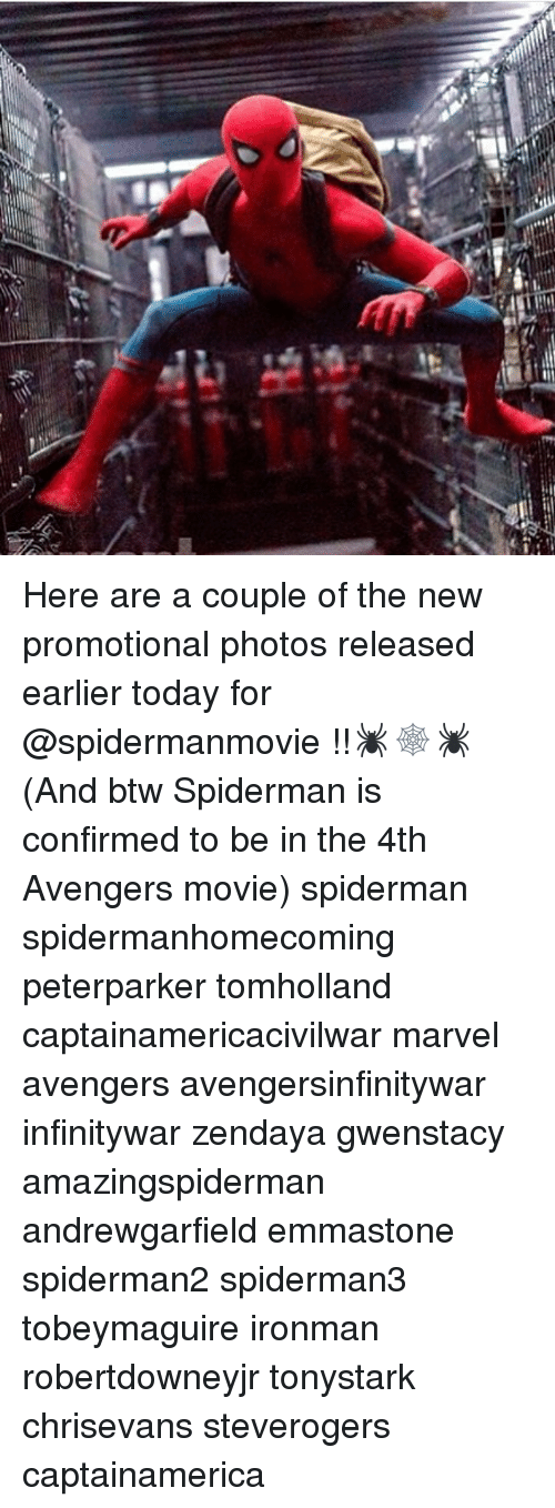 Memes, Avengers, and Marvel: :o  CT Here are a couple of the new promotional photos released earlier today for @spidermanmovie !!🕷🕸🕷 (And btw Spiderman is confirmed to be in the 4th Avengers movie) spiderman spidermanhomecoming peterparker tomholland captainamericacivilwar marvel avengers avengersinfinitywar infinitywar zendaya gwenstacy amazingspiderman andrewgarfield emmastone spiderman2 spiderman3 tobeymaguire ironman robertdowneyjr tonystark chrisevans steverogers captainamerica