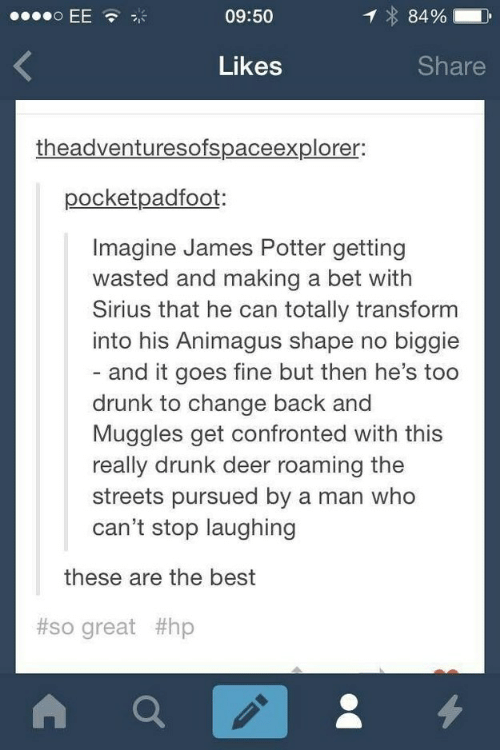 Deer, Drunk, and Streets: o EE  09:50  84%  Share  Likes  theadventuresofspaceexplorer:  pocketpadfoot:  Imagine James Potter getting  wasted and making a bet with  Sirius that he can totally transform  into his Animagus shape no biggie  - and it goes fine but then he's too  drunk to change back and  Muggles get confronted with this  really drunk deer roaming the  streets pursued by a man who  can't stop laughing  these are the best  #so great