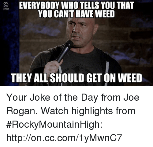 Jokes Of The Day: O EVERYBODY WHO TELLS YOU THAT  YOU CANT HAVE WEED  THEY ALLSHOULD GETON WEED Your Joke of the Day from Joe Rogan. Watch highlights from #RockyMountainHigh: http://on.cc.com/1yMwnC7