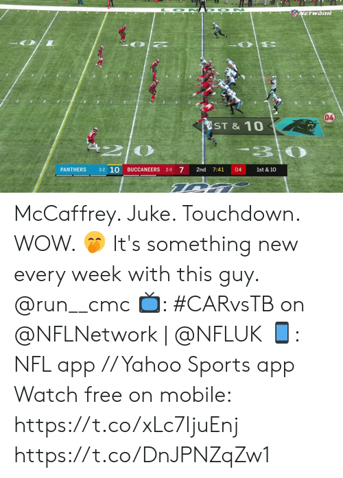 juke: O N D ON  NFLVETWORR  04  ST &10  3-2 10  7  PANTHERS  BUCCANEERS 2-3  2nd  7:41  04  1st & 10 McCaffrey.  Juke.  Touchdown.  WOW. 🤭  It's something new every week with this guy. @run__cmc  📺: #CARvsTB on @NFLNetwork | @NFLUK 📱: NFL app // Yahoo Sports app Watch free on mobile: https://t.co/xLc7ljuEnj https://t.co/DnJPNZqZw1