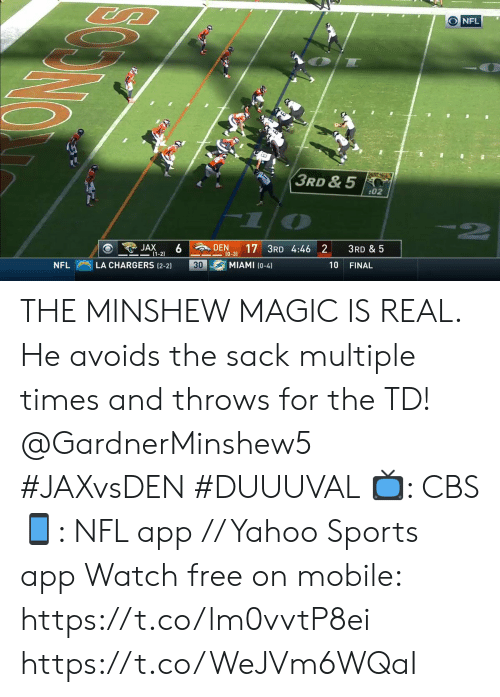 Memes, Nfl, and Sports: O NFL  3RD & 5  02  6 DEN  JAX  -(1-2)  3RD & 5  10-3) 17 3RD 4:46 2  MIAMI (0-4)  LA CHARGERS (2-2)  30  10  NFL  FINAL THE MINSHEW MAGIC IS REAL.  He avoids the sack multiple times and throws for the TD! @GardnerMinshew5 #JAXvsDEN #DUUUVAL   ?: CBS ?: NFL app // Yahoo Sports app Watch free on mobile: https://t.co/lm0vvtP8ei https://t.co/WeJVm6WQaI