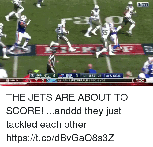 Football, Nfl, and Sports: O NFL  95  NYJ 0 BUF 0 1ST 8:54 25 3RD & GOAL  1st ARI LFITZGERALD REG, 4 YDS  DURECT  7 0  RZC THE JETS ARE ABOUT TO SCORE!   ...anddd they just tackled each other https://t.co/dBvGaO8s3Z