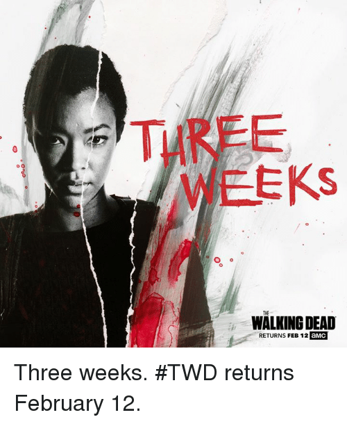 Walking Dead Returns: o O  EKS  WALKING DEAD  RETURNS FEB 12 aMC Three weeks. #TWD returns February 12.