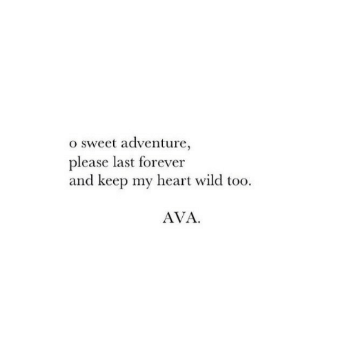 Forever, Heart, and Wild: o sweet adventure,  please last forever  and keep my heart wild too  AVA