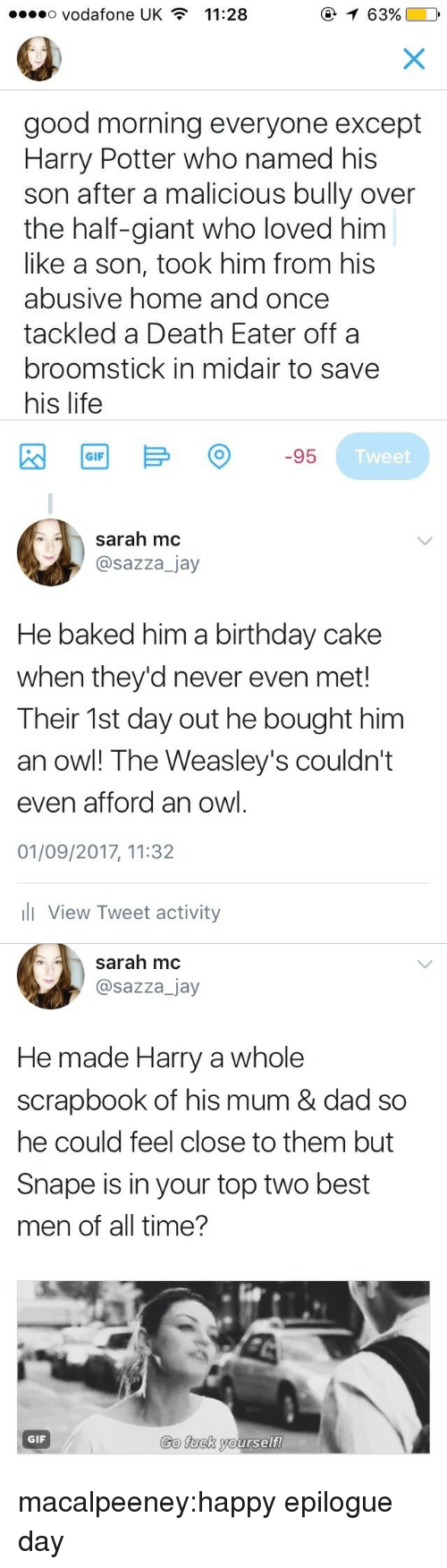 Baked, Birthday, and Broomstick: o Vodafone UK  11:28  0  good morning everyone except  Harry Potter who named his  son after a malicious bully over  the half-giant who loved him  like a son, took him from his  abusive home and once  tackled a Death Eater offa  broomstick in midair to save  his life  Tweet   sarah mc  @sazza_jay  He baked him a birthday cake  when they'd never even met!  Their 1st day out he bought him  an owl! The Weasley's couldn't  even afford an owl  01/09/2017, 11:32  l View Tweet activity   sarah mc  @sazza_jay  He made Harry a whole  scrapbook of his mum & dad so  he could feel close to them but  Snape is in your top two best  men of all time?  Go fuck yourself  GIF macalpeeney:happy epilogue day