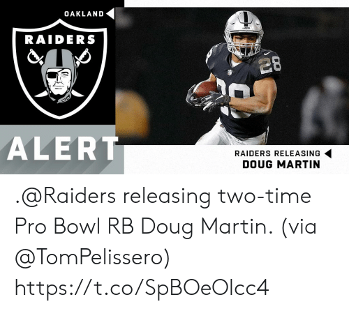 Doug, Martin, and Memes: OAKLAND  DERS  RAIDERS  28  ALERT  RAIDERS RELEASING  DOUG MARTIN .@Raiders releasing two-time Pro Bowl RB Doug Martin. (via @TomPelissero) https://t.co/SpBOeOlcc4