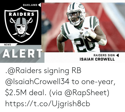 Memes, News, and Oakland Raiders: OAKLAND  RAIDERS  NEWS  ALERT  RAIDERS SIGN  ISAIAH CROWELL .@Raiders signing RB @IsaiahCrowell34 to one-year, $2.5M deal. (via @RapSheet) https://t.co/Ujgrish8cb