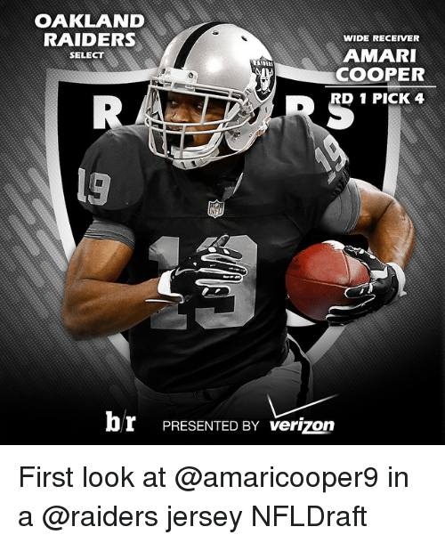 Oakland Raiders, Sports, and Verizon: OAKLAND  RAIDERS  WIDE RECEIVER  AMARI  SELECT  COOPER  D 1 PICK 4  br PRESENTED BY verizon First look at @amaricooper9 in a @raiders jersey NFLDraft