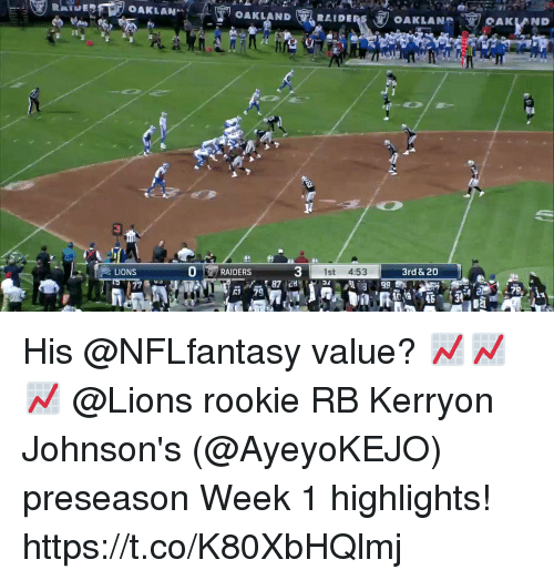 Memes, Lions, and 🤖: OAKLANHOAKLAND  CAKLAND  LIONS  0RAIDERS  3  1st 4:53  3rd & 20  R1 79 His @NFLfantasy value? 📈📈📈  @Lions rookie RB Kerryon Johnson's (@AyeyoKEJO) preseason Week 1 highlights! https://t.co/K80XbHQlmj