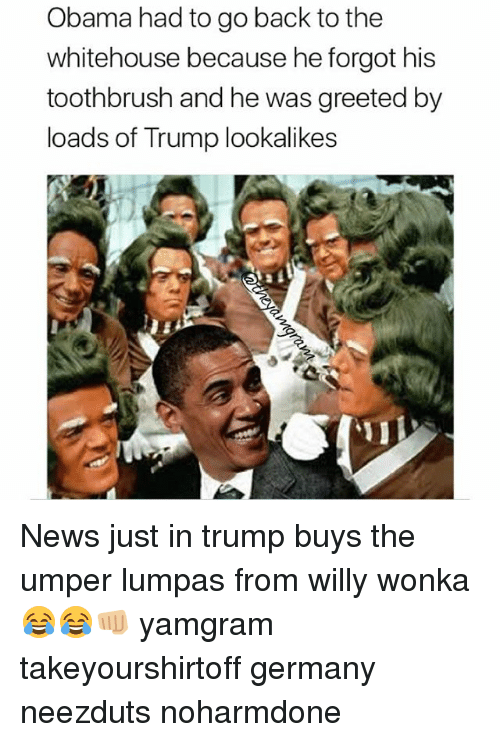 willies: Obama had to go back to the  whitehouse because he forgot his  toothbrush and he was greeted by  loads of Trump lookalikes News just in trump buys the umper lumpas from willy wonka 😂😂👊🏼 yamgram takeyourshirtoff germany neezduts noharmdone