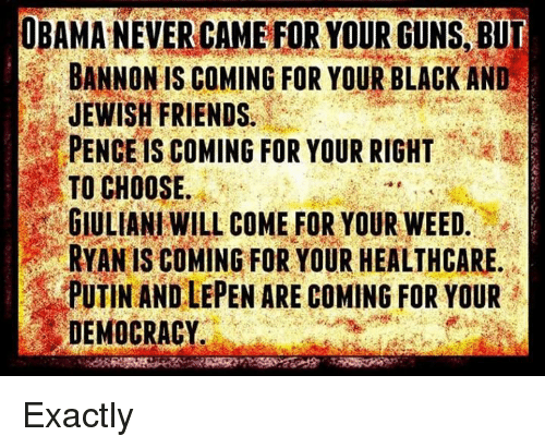 Guns, Memes, and Putin: OBAMA NEVERCAMEFOR YOUR GUNS BUT  BANNON IS COMING FOR YOUR BLACK AND  JEWISH FRIENDS.  PENCEls COMING FOR YOUR RIGHT  TO CHOOSE.  GIULIANI WILL COME FOR YOUR WEED  RYAN IS COMING FOR YOUR HEALTHCARE  PUTIN AND LEPEN ARE COMING FOR YOUR  DEMOCRACY Exactly