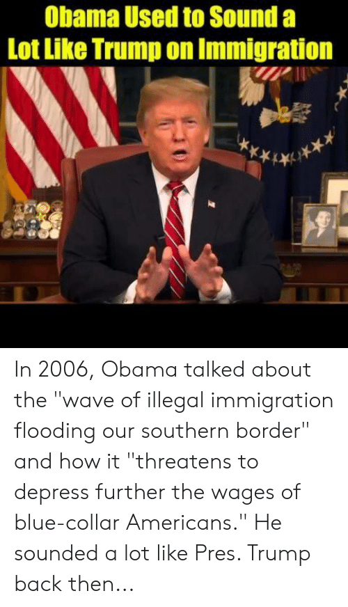 """Memes, Obama, and Blue: Obama Used to Sound a  Lot Like Trump on Immigration In 2006, Obama talked about the """"wave of illegal immigration flooding our southern border"""" and how it """"threatens to depress further the wages of blue-collar Americans.""""   He sounded a lot like Pres. Trump back then..."""