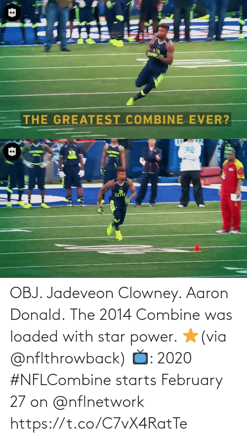loaded: OBJ. Jadeveon Clowney. Aaron Donald.  The 2014 Combine was loaded with star power. ⭐️(via @nflthrowback)  📺: 2020 #NFLCombine starts February 27 on @nflnetwork https://t.co/C7vX4RatTe