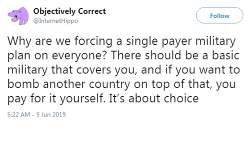 Covers, Military, and Single: Objectively Correct  @InternetHippo  Follow  Why are we forcing a single payer military  plan on everyone? There should be a basic  military that covers you, and if you want to  bomb another country on top of that, you  pay for it yourself. It's about choice  5:22 AM -5 Jun 2019